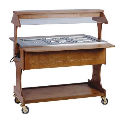 Carrello espositore bagnomaria con struttura in legno. - Forcar