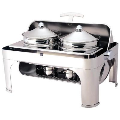 Chafing dish con coperchio roll top 180° rettangolare. Modello: CD6505 - Forcar