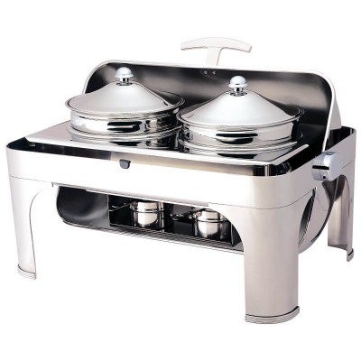 Chafing dish with 180° rectangular roll top lid. Model: CD6505 - Forcar