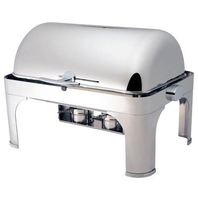 Chafing dish con coperchio roll top 180°, rettangolare. CD6502 - Forcar