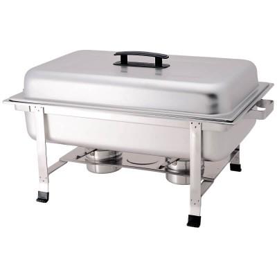 Chafing dish con coperchio, rettangolare in acciaio inox. Modello: CD7905 - Forcar
