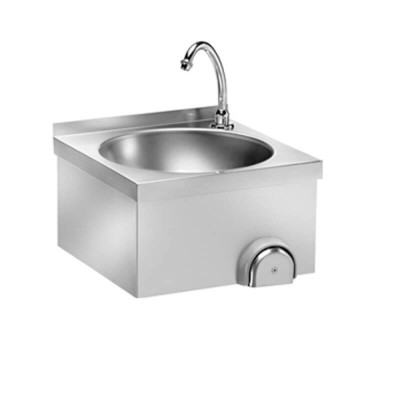 Stainless steel wall washbasin, knee control. - Forcar