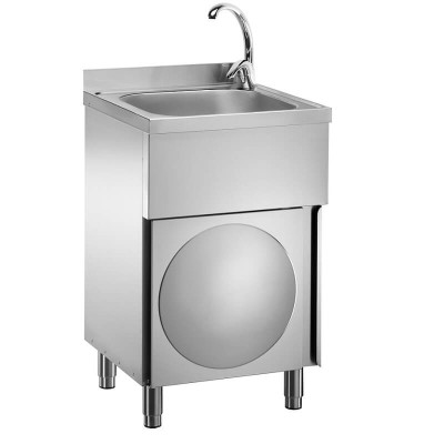 Stainless steel hand-washing unit on furniture and knee control. - Forcar
