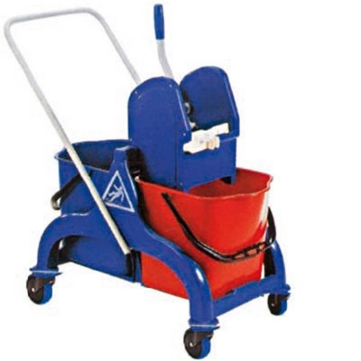 Cleaning trolley with wringer, two 25 lt. buckets. - Forcar