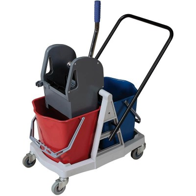 Cleaning trolley with wringer, N° 2 25 lt. buckets. - Forcar