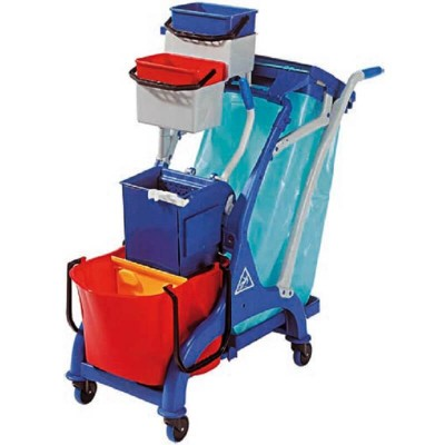 Cleaning trolley, 28lt bucket with wringer and bag holder - Forcar
