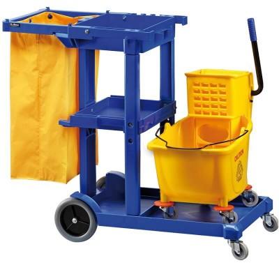 Carrello per pulizie con strizzatore portasacco e portautensili - Forcar