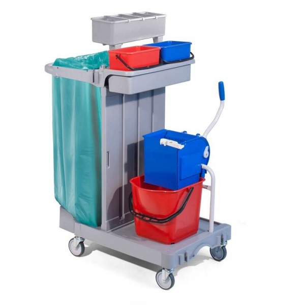 cleaning trolley with wringer, 15lt bucket and bag holder - Forcar