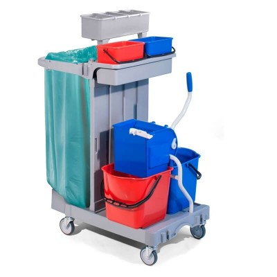 Cleaning trolley, 2 buckets 15lt and wringer - Forcar