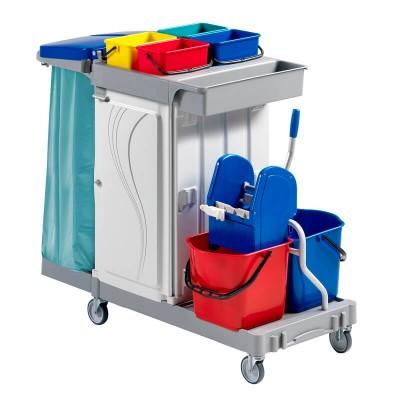 carrello per pulizie con 2 secchi 15lt e 4 secchi 4lt - Forcar