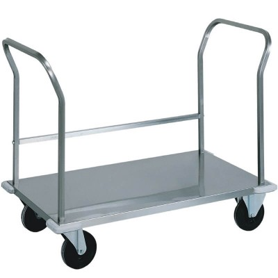 Heavy duty stainless steel transport trolley with double handle. - Forcar