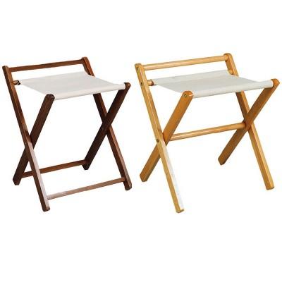 Reggi valigie in legno e cotone con sponda - Forcar