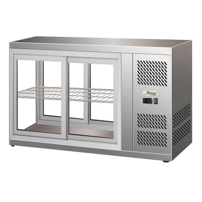 Stainless steel ventilated refrigerated display case, sliding doors and internal light. Model: HAV91 - Forcar