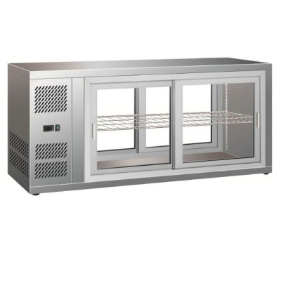 Ventilated refrigerated display cabinet with sliding doors on both sides. Model: HAV131 - Forcar