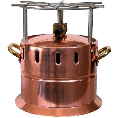 Copper gas flambé cooker with stainless steel grill. - Forcar