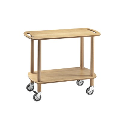 Solid wood CLE service trolley with 2 plywood tops and 95mm wheels - Forcar