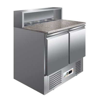 Flat stainless steel static refrigerated saladette in granite GPS900 - Forcar