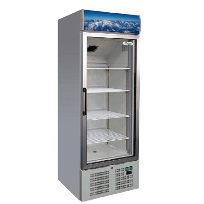 Static refrigerator cabinet with glass door and digital thermometer. Model: SNACK340TNG - Forcar