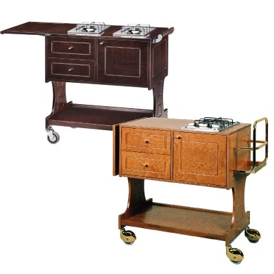 Wooden flambé trolley with 2 drawers, tank compartment and folding top. number of burners at choice - Forcar