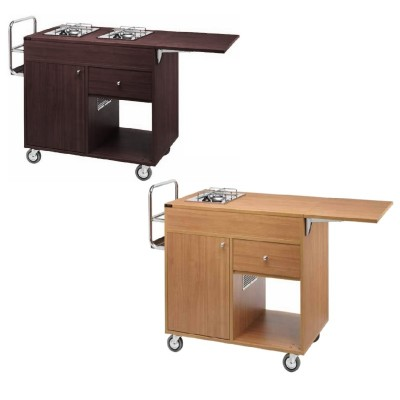 Wooden flambé trolley with a tank compartment drawer and tilting top. number of fires to choose from - Forcar