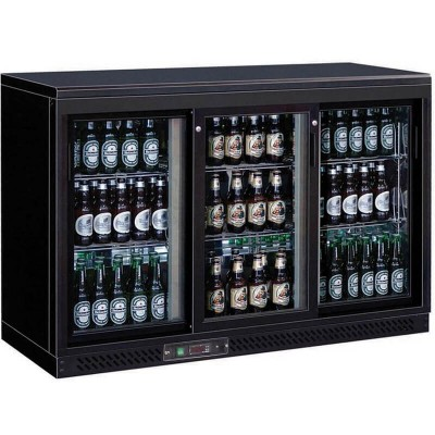 Triple horizontal refrigerated display case for drinks, ventilated refrigeration. Model: BC3PS - Forcar