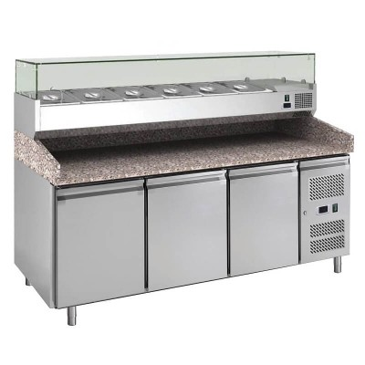 3-door refrigerated pizza counter for pizzerias and Kebab, AISI 201 stainless steel. GPZ3600TN-FC - Forcar