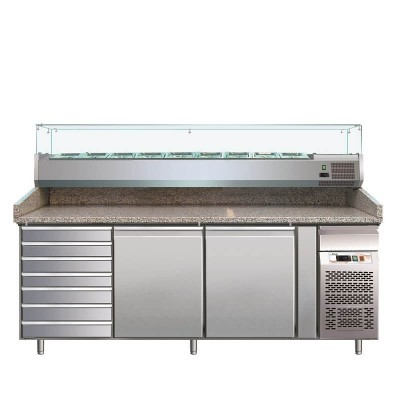 2 door refrigerated pizza counter with drawers, AISI 201 stainless steel. GPZ2610TN - Forcar