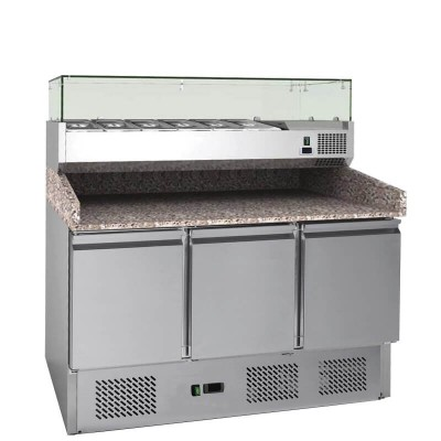 Stainless steel frame static refrigerated pizza counter. GS903PZFC - Forcar