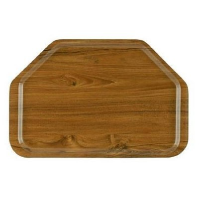 Hexagonal laminate tray, teak colour. - Forcar