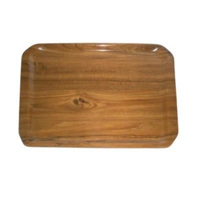 Rectangular laminate tray, teak colour. - Forcar