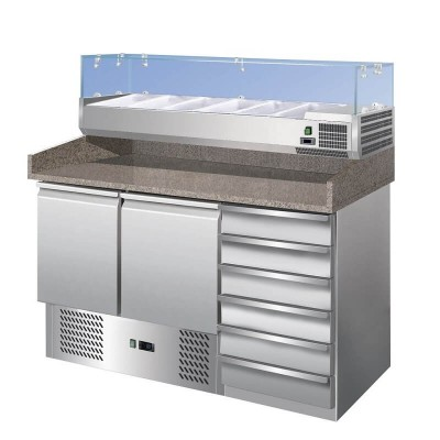 Pizza counter - refrigerated stainless steel table with granite top GS903PZCAS - Forcar