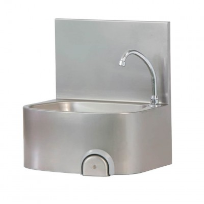 Wall-mounted hand-rinse basin with knee control - Forcar