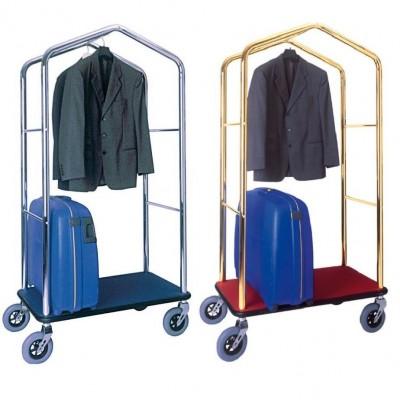 Carrello porta valigie in acciaio con appendiabiti - Forcar Multiservice