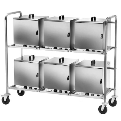 Stainless steel trolley on wheels for 6 thermal boxes, equipped with plug - Forcar