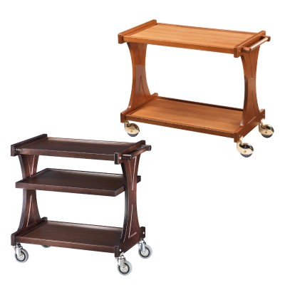 Service trolley made of sturdy wood, available in two colours with optional intermediate top. - Forcar