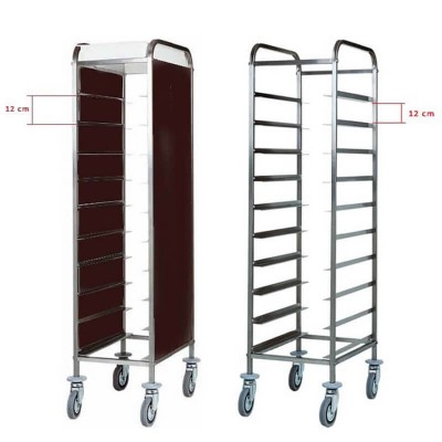 Tray trolley with stainless steel frame for 10 Gastronorm GN 1/1. CA1450 - Forcar