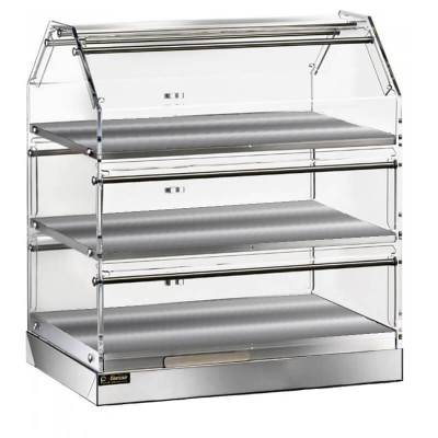 Neutral three-storey showcase, stainless steel and plexiglass structure - Forcar