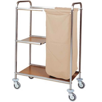 Laundry trolley with three shelves and fireproof fabric bag. Model: CA1501 - Forcar