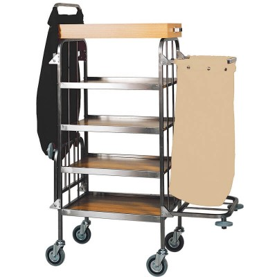 Cleaning trolley and laundry rack with 4 laminated shelves. Model: CA740 - Forcar