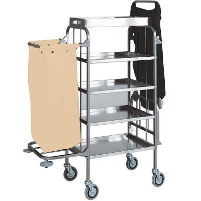 Carrello delle pulizie e portabiancheria con 4 ripiani in acciaio. Modello: CA1525 - Forcar