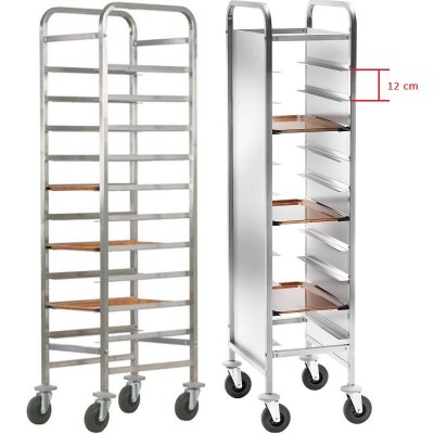 Reinforced stainless steel tray trolley for 10 Gastronorm trays. CA1451R - Forcar