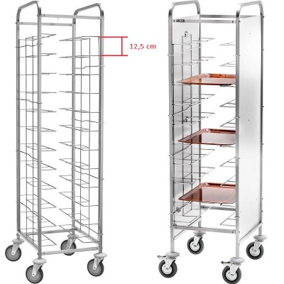 Stainless steel universal tray trolley 10 trays. CA 1455 - Forcar