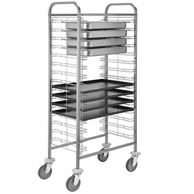 Trolley for trays, pans and gastronorm bowls with 10 shelves. CA1655 - Forcar