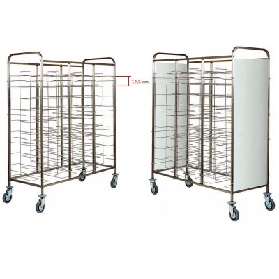 Universal stainless steel tray trolley with 30 trays. CA1475 - Forcar