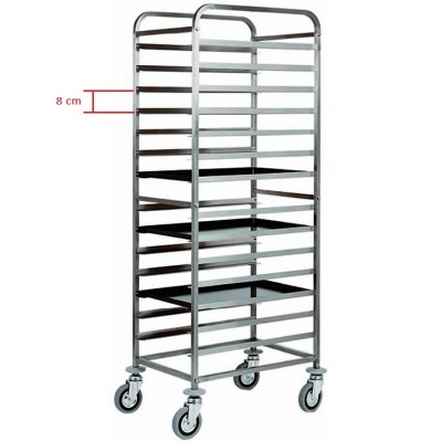 Stainless steel trolley with 14 trays 60x04. Model: CA1482 - Forcar