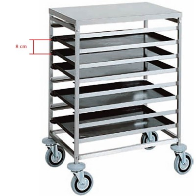 Stainless steel trolley with 8 trays 60x40. CA1483 - Forcar
