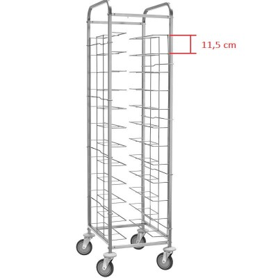 Stainless steel universal tray trolley 12 trays. CA 1455 V12 - Forcar