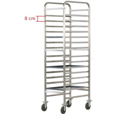 Reinforced pastry trolley with 14 shelves. CA1492R - Forcar