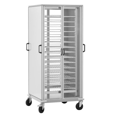 Cupboard trolley with 10 GN2/1 painted grids. - Forcar
