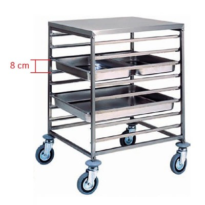Stainless steel tray trolley for 8 GN 2/1 Gastronorm. CA1477 - Forcar